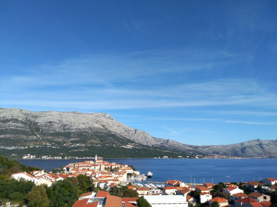 Scenic views of the Old Town from the Tommy Car Park in Korcula